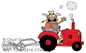 A Tanned Farmer Riding In a Red Plow Tractor Clipart Image.