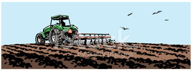 Tractor Plowing A stock vectors.