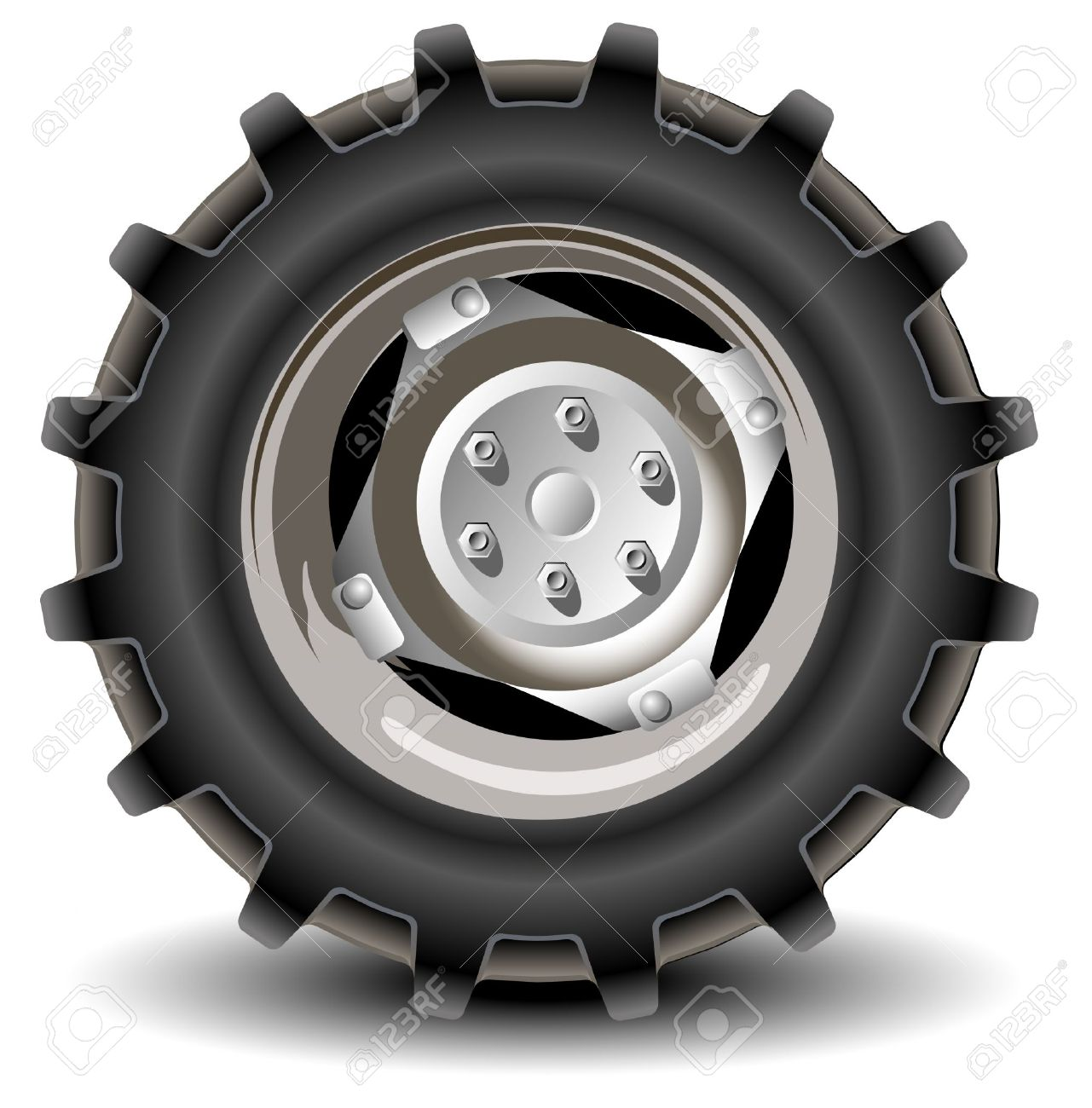 Car Wheel In Details On White Background With Shadow, Vector.