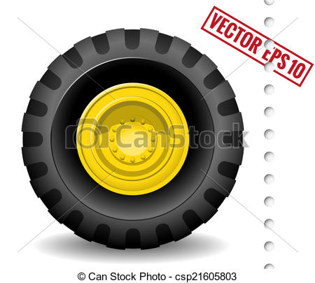 Vector Clipart of Tractor wheel isolated on white background.