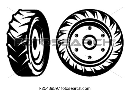 Clip Art Vector Set Of Tractor Tire Clipart #kFkKLW.