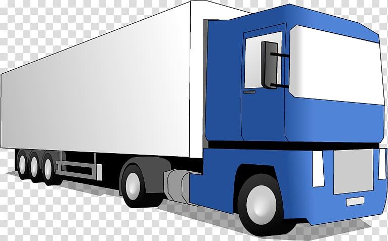 Blue and white semi trailer truck illustration, Pickup truck.