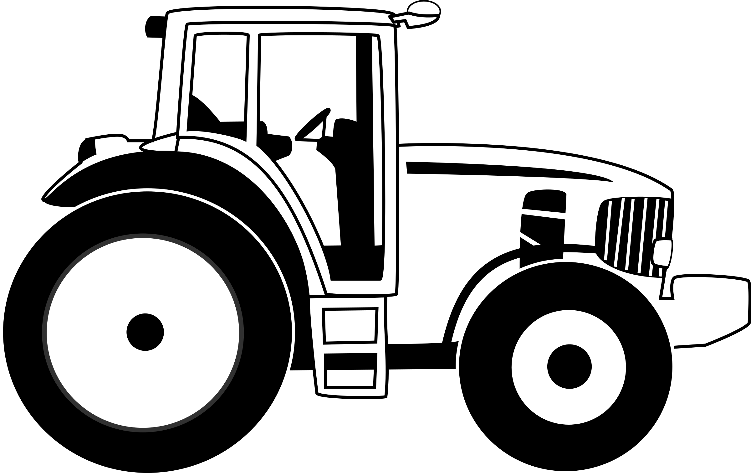 tractor black and white clipart #20