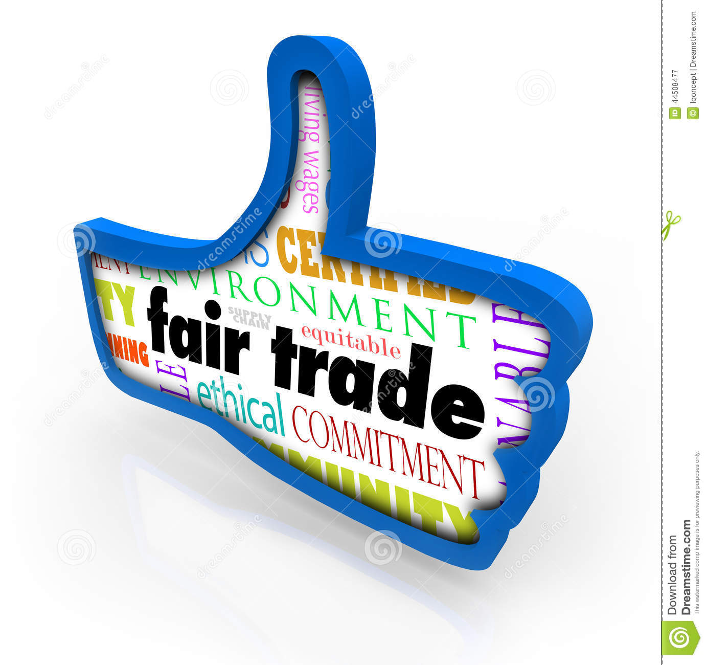 Fair Trade Blue Thumbs Up Words Responsible Business Approval Li.
