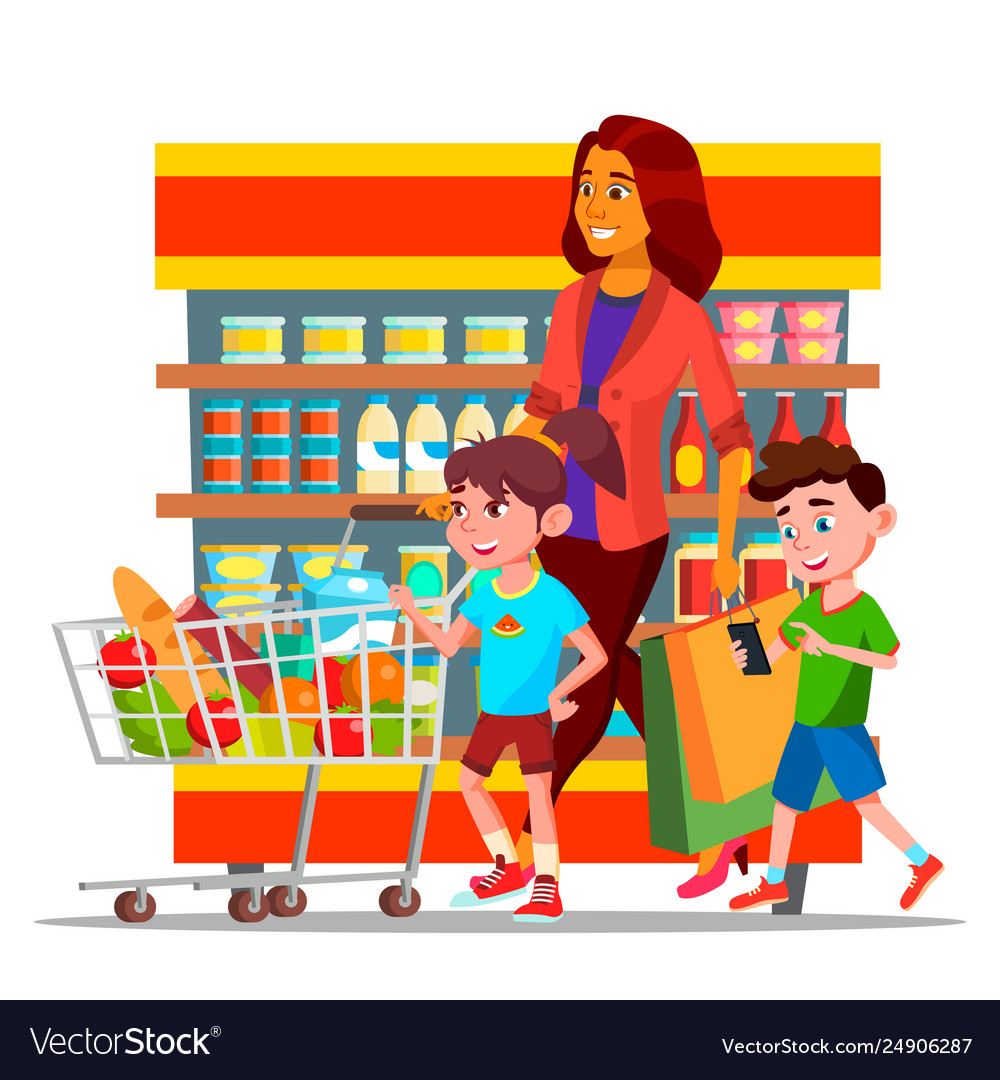 Mother with children shopping in hypermarket.
