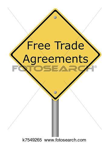 Stock Illustration of Warning Sign Free Trade Agreement k7549265.