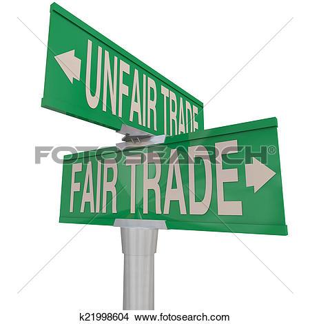 Drawings of Fair Vs Unfair Trade Words Two Way Street Road Signs.