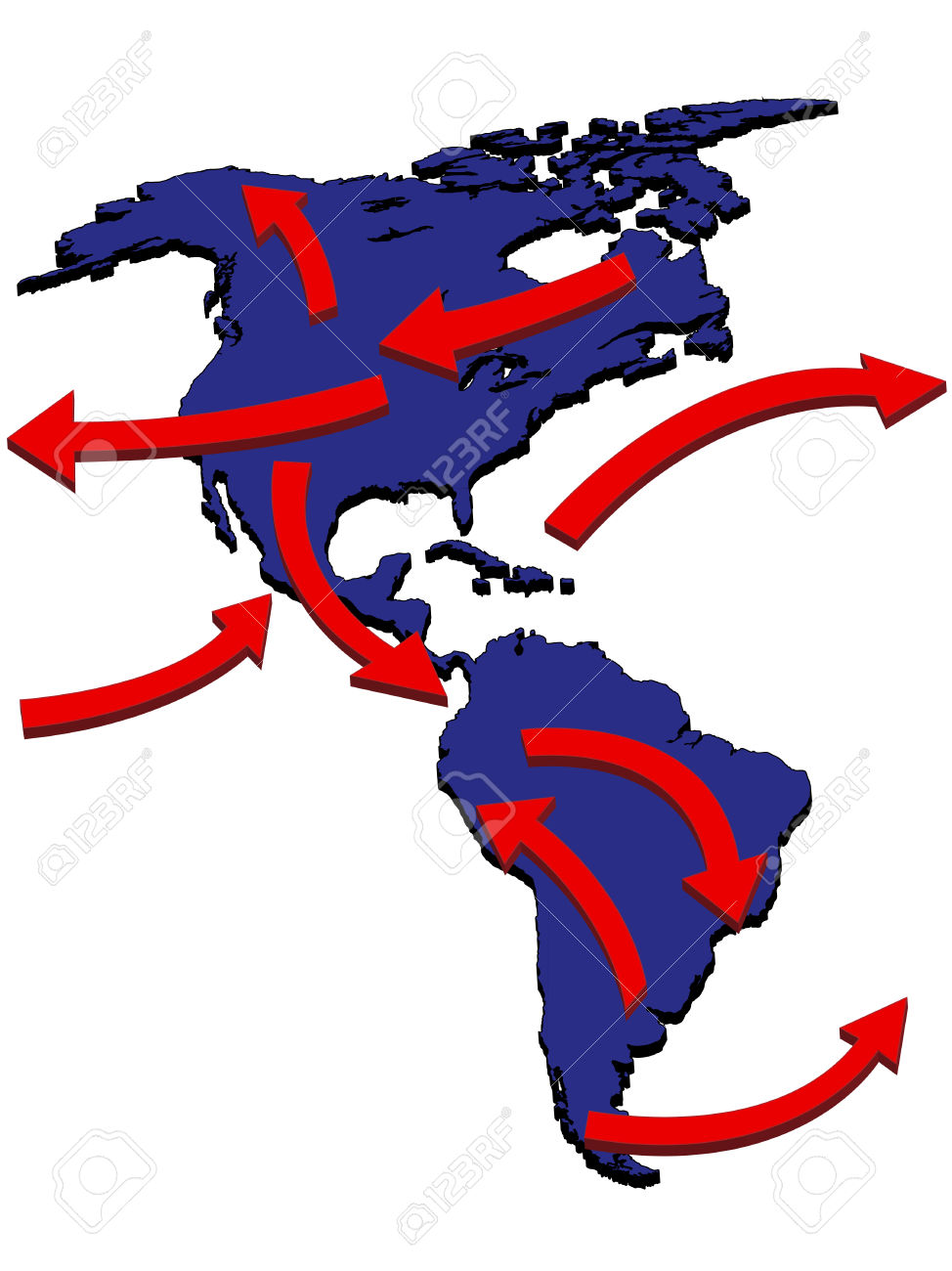 Americas Expansion Market Trade Routes Business Map 3D Royalty.