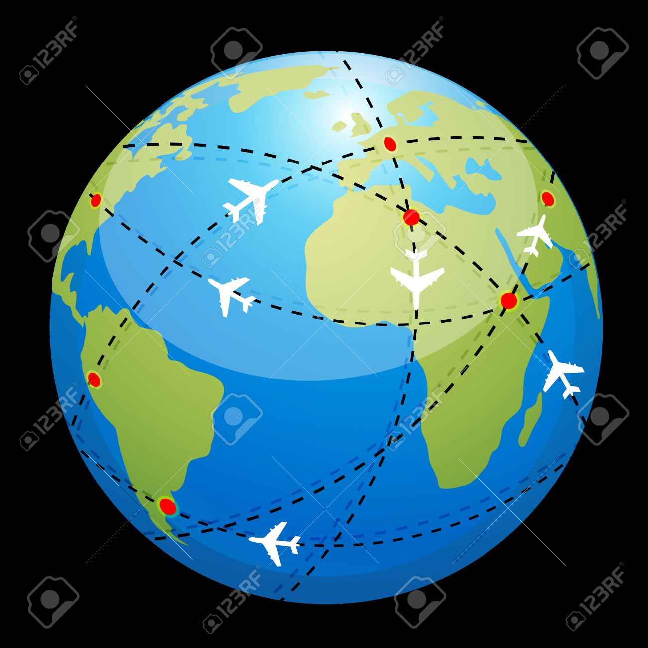 Illustration Of Globe Showing Air Route Royalty Free Cliparts.