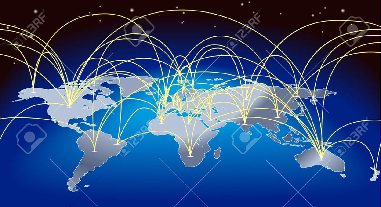 A World Map Background With Flight Paths Or Trade Routes Royalty.