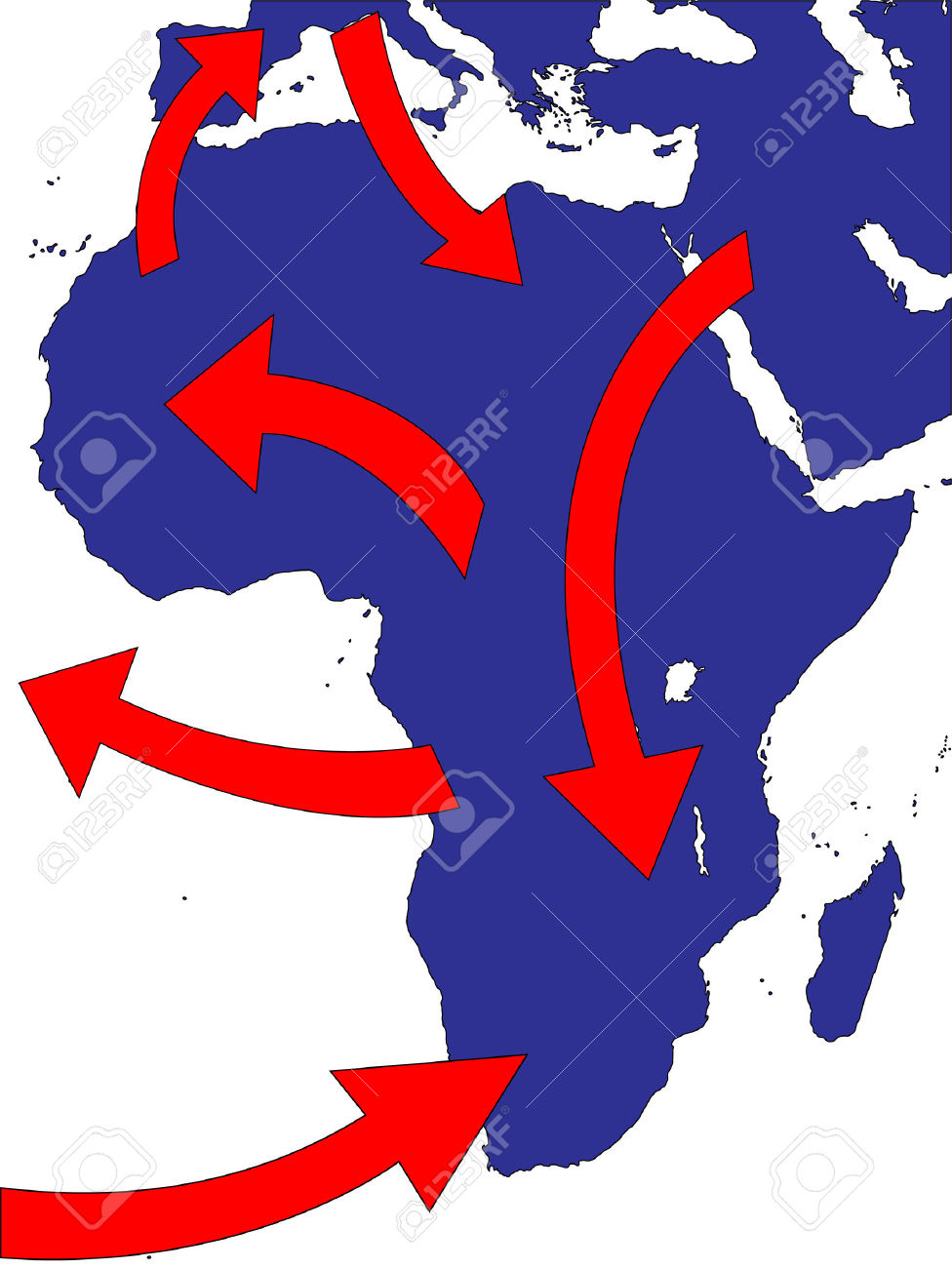 Africa Expansion Market Trade Routes Business Map Royalty Free.