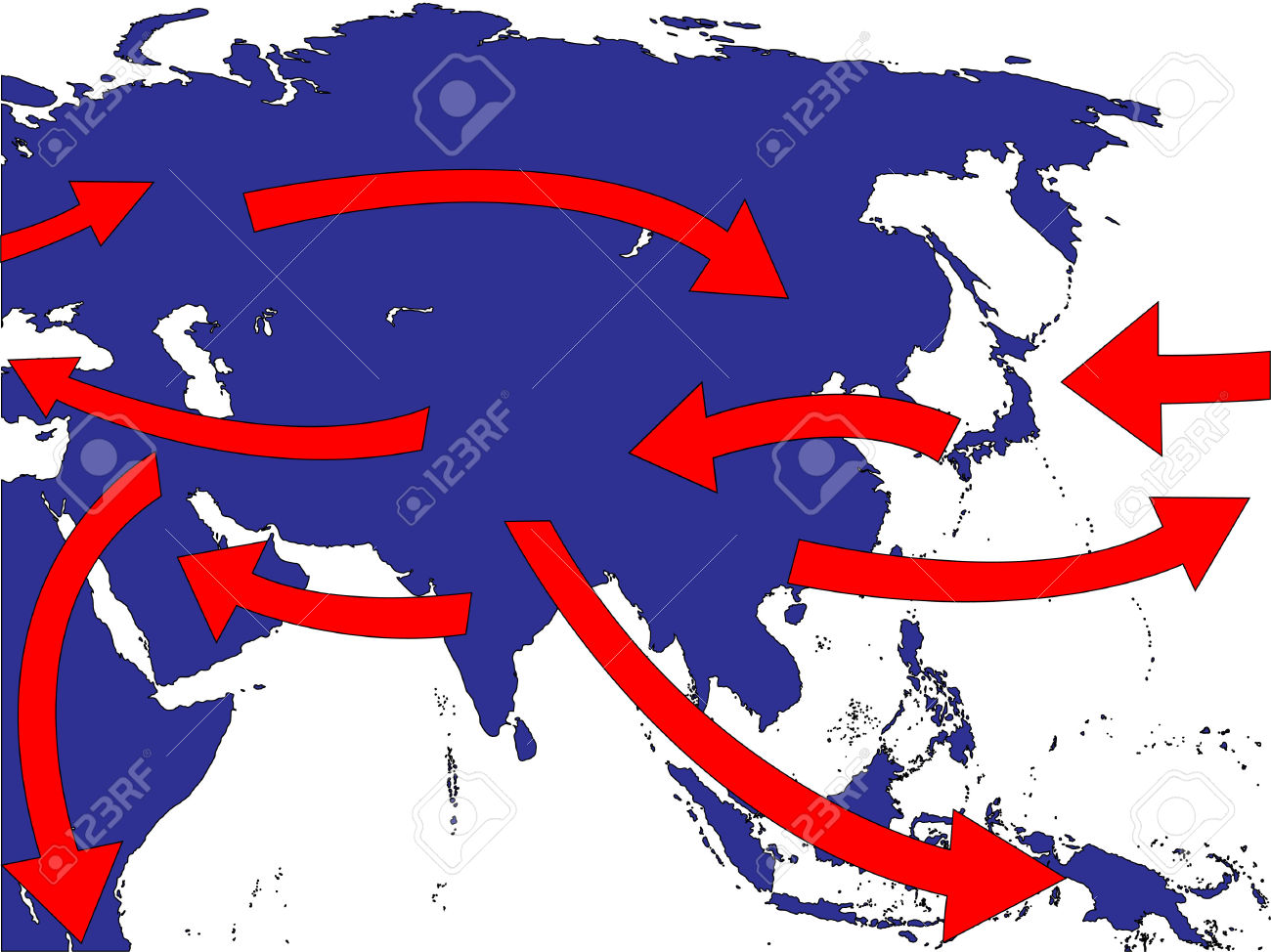 Asia Expansion Market Trade Routes Business Map Royalty Free.