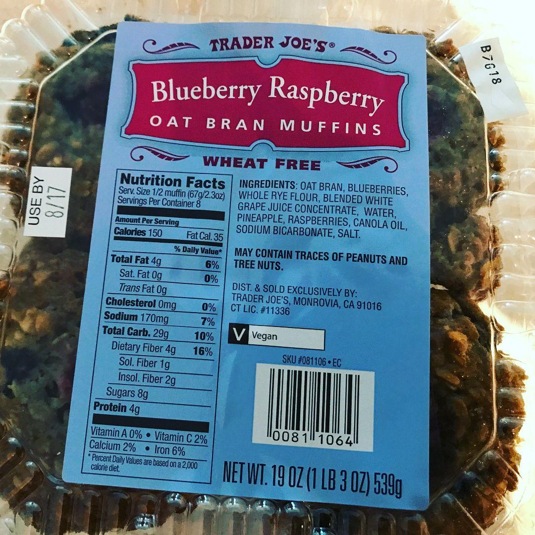Trader Joe\'s Blueberry Raspberry Oat Bran Muffins.