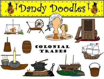Colonial Trades Clip Art by Dandy Doodles.
