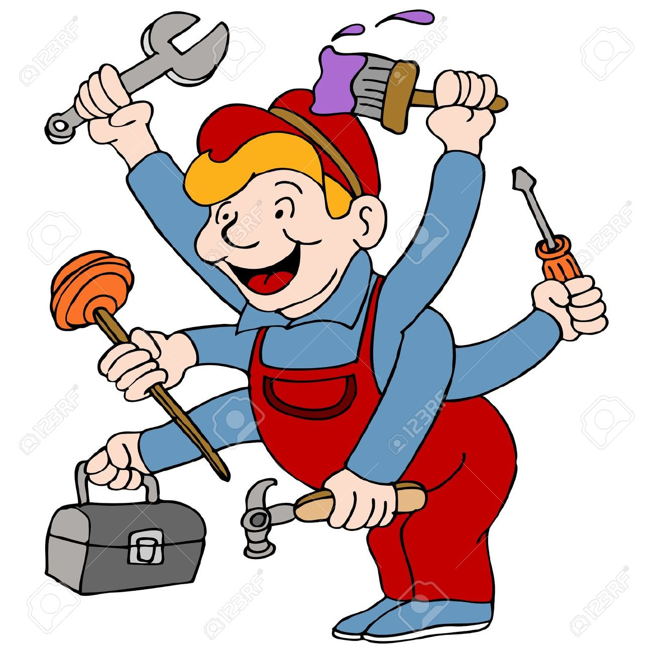 An Image Of A Handyman Who Is A Jack Of All Trades. Royalty Free.