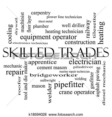 Stock Illustration of Skilled Trades Word Cloud Concept in black.