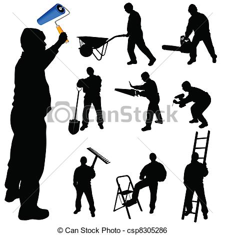 Clip Art Vector of workers in various trades and tools vector.