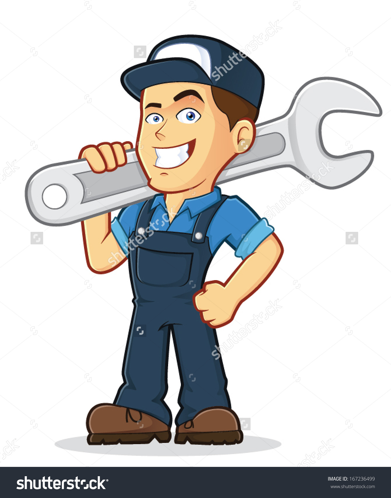 Vector Clipart Picture Male Mechanic Cartoon Stock Vector.