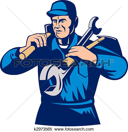 Stock Illustration of tradesman handyman worker carrying tools.