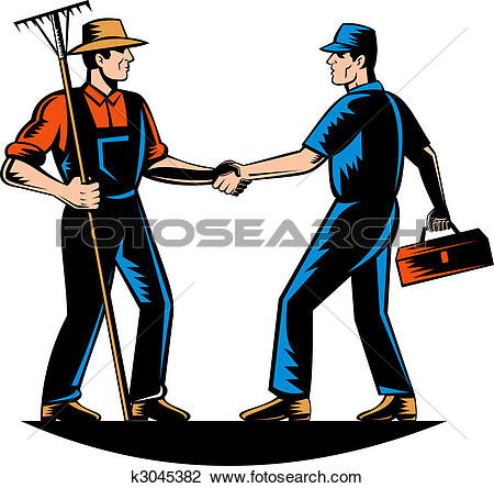 Clip Art of farmer and a tradesman,repairman,plumber or handyman.