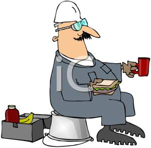 Colorful Cartoon of a Tradesman Taking His Lunch Break.