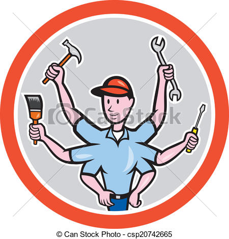 Clip Art Vector of Tradesman Worker Six Hand Cartoon.