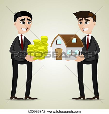Clipart of cartoon trading house among agent and businessman.
