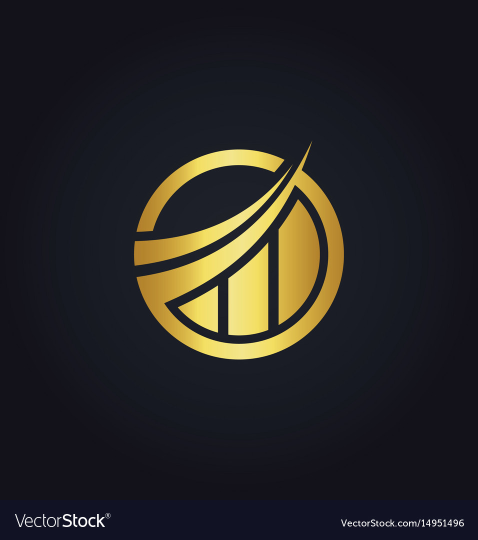 Business finance round trading gold company logo.
