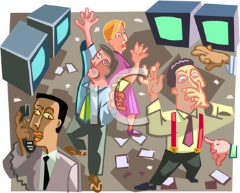 Royalty Free Clip Art Image: Traders buying and selling on a.