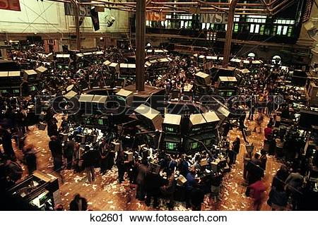 Stock Photography of 1980s trading floor of new york stock.