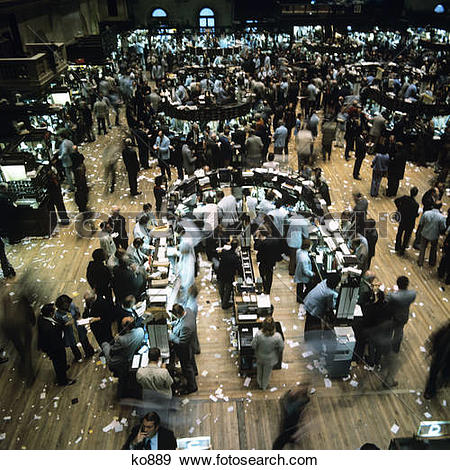 Stock Photograph of 1980s interior trading floor of the new york.