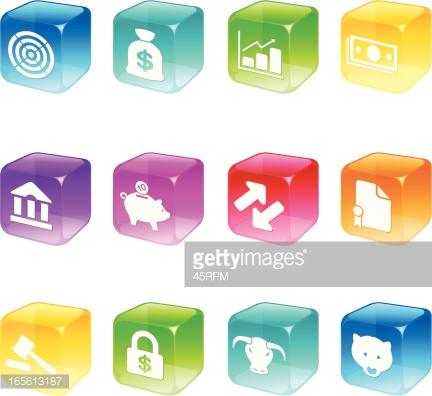 Cube Icons Trading Floor Series Vector Art.