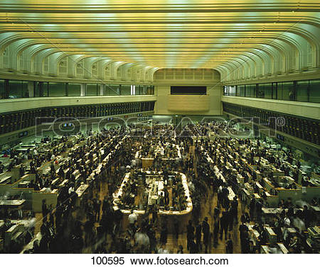 Stock Image of Business people on trading floor, Tokyo Stock.