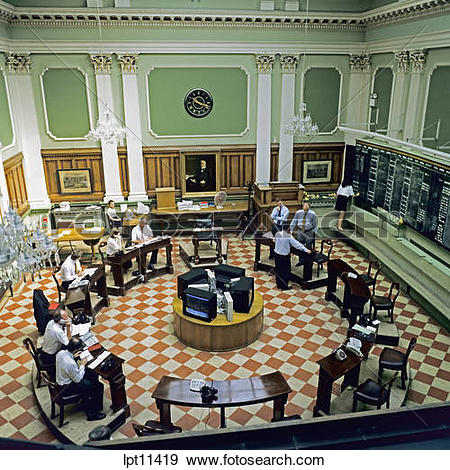 Stock Photograph of TRADING FLOOR OF FORMER STOCK EXCHANGE DUBLIN.