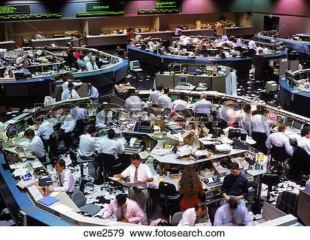 Stock Photograph of Stock exchange trading floor in Los Angeles.