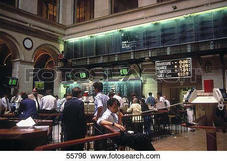 Pictures of People working in stock exchange trading floor, Paris.
