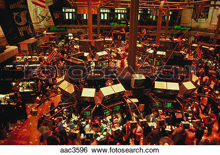 Stock Images of Aerial view of the trading floor of the New York.