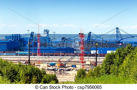 Stock Images of Work of new sea trading port of the Ust.