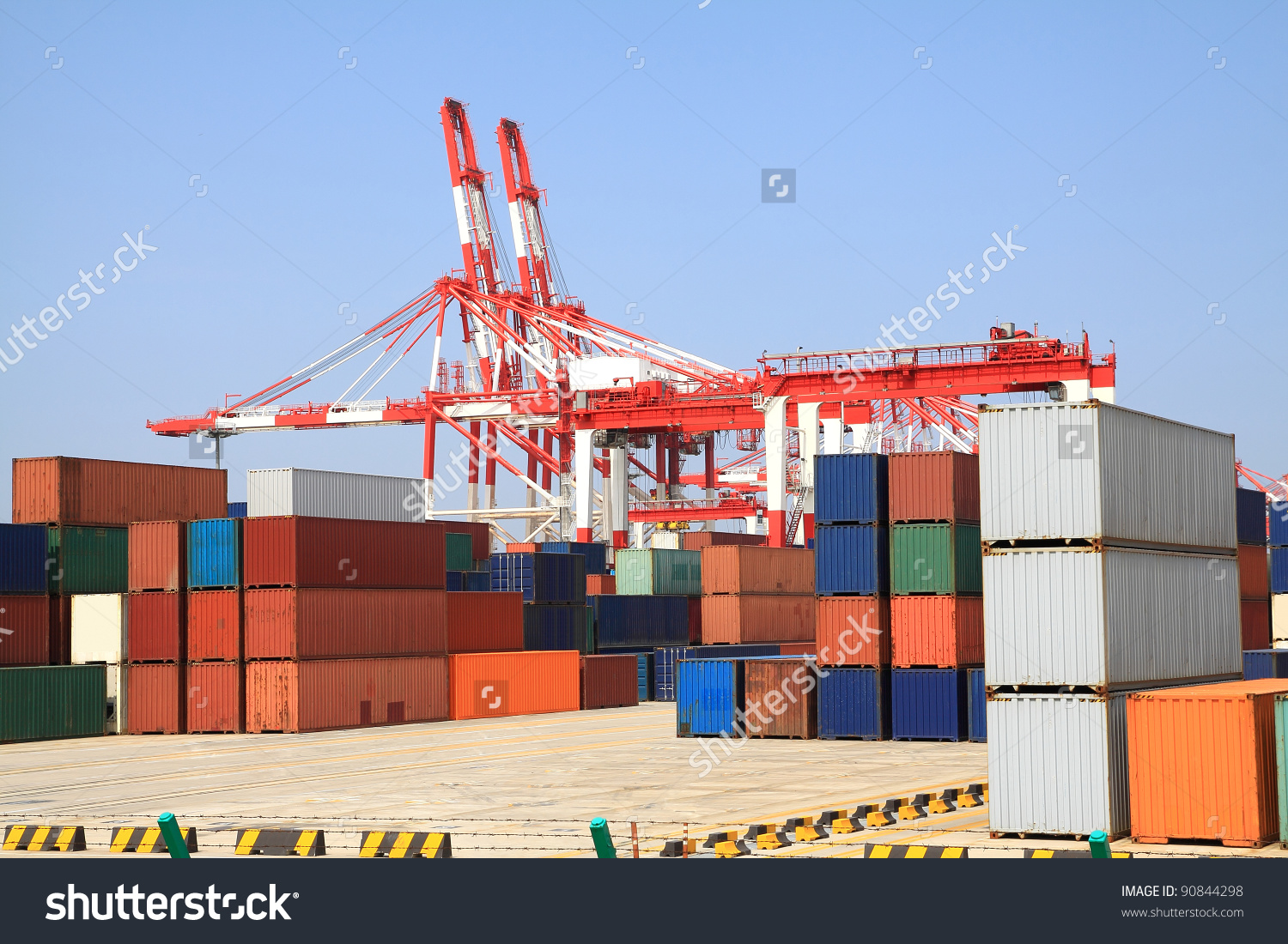 Trading Port Cranes And Container Storage Stock Photo 90844298.