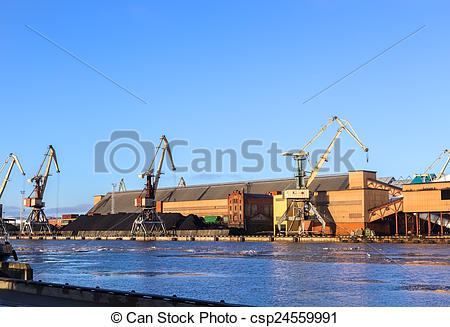 Stock Photographs of Ventspils sea trading port on the Baltic Sea.