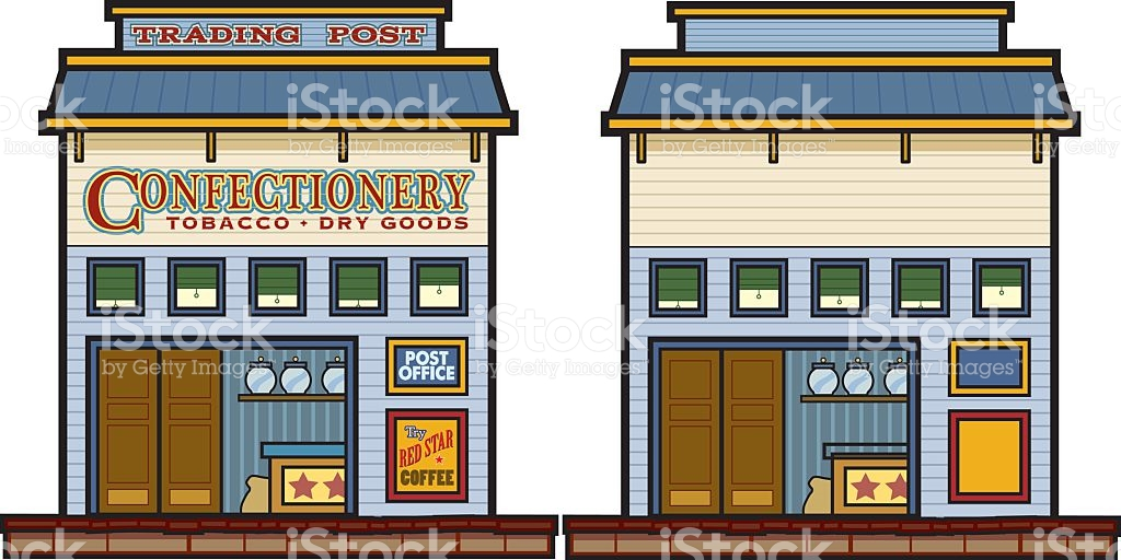 Wild West Trading Post And General Store stock vector art.