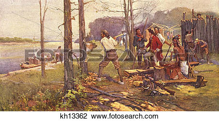 Stock Photo of 1700S 1784 Pierre Laclede Clearing Land For Trading.