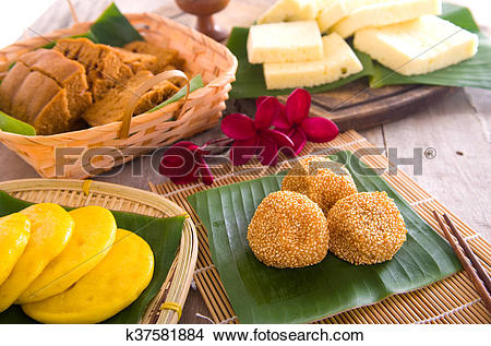 Stock Photo of Assorted Tradisional malaysia cakes and deserts.