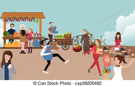 Traditional market stall Clipart Vector and Illustration. 163.