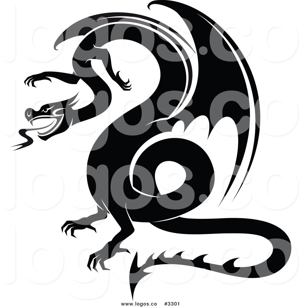 Royalty Free Vector of a Black and White Dragon Logo by.