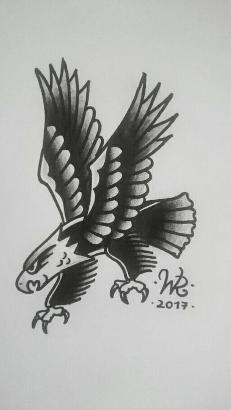 Traditional american eagle B&W.