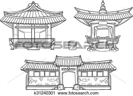 Clipart of Hanok Korean traditional architecture vector outline.