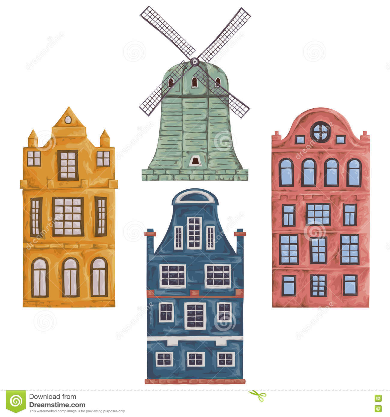 Amsterdam. Old Historic Buildings And Traditional Architecture Of.