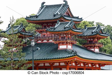 Stock Photography of Traditional Japanese architecture at Heian.