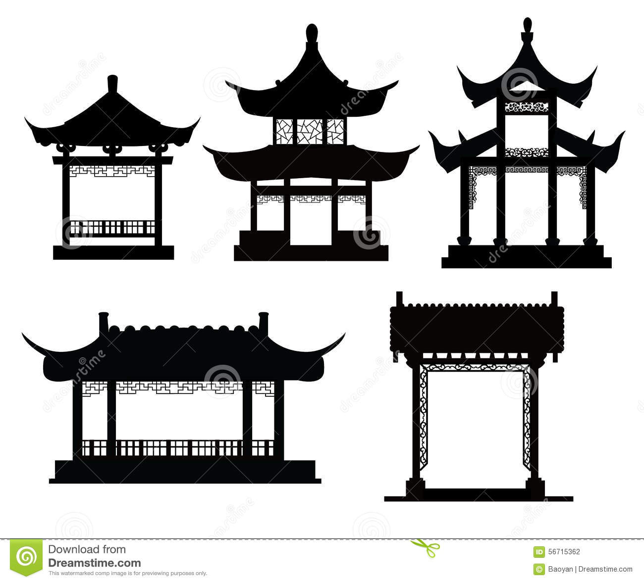 Chinese Traditional Pavilions Stock Vector.